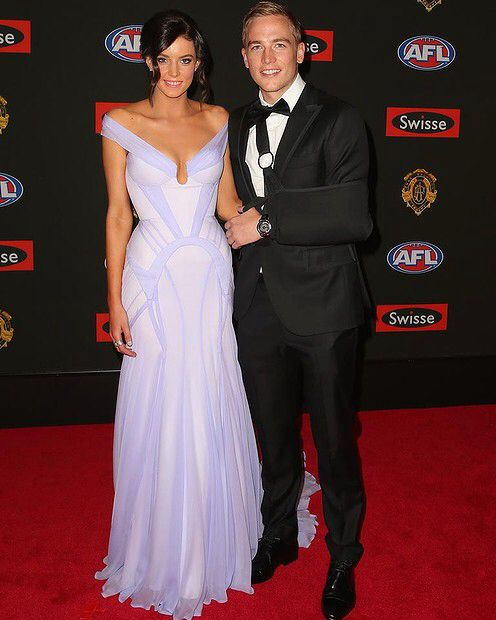 Abbie Noonan wearing Georgia Young Couture to the Brownlow Awards 2014 // Custom Lilac Silk gown . www.georgiayoungcouture.com