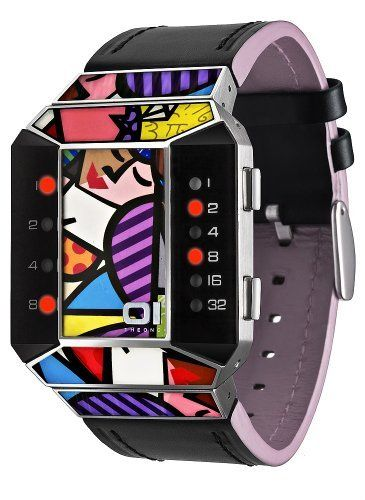 01TheOne Unisex SC123R1 Split Screen Romero Britto Art Pink Watch 01TheOne. $129.00. High grade stainless steel case with enamel design inlay. Genuine black leather strap with pink leather lining. Uses 01TheOne's binary time telling system. Designed by internationally renowned artist, Romero Britto exclusively for 01TheOne. Water-resistant to 99 feet (30 M)
