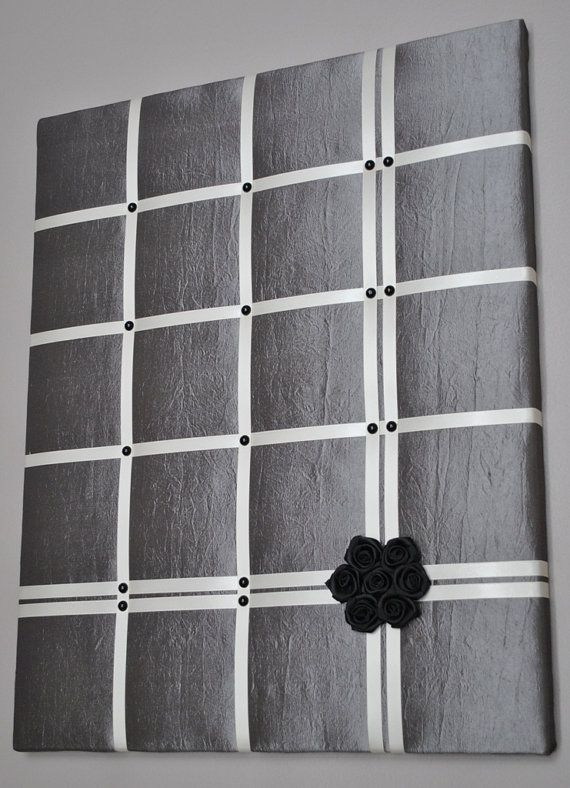 Grey taffeta French memo board / fabric wall art by MemoBoardsNMore