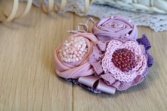 Textile jewelry/ Fabric Flower Brooch/ Flower by Femalehappiness