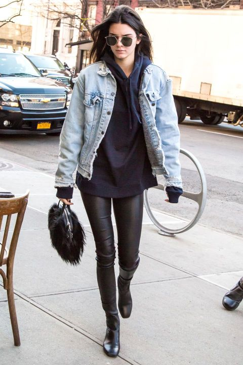 Who: Kendall Jenner What: An Oversized Denim Jacket Why: Jenner plays it cool in leather pants and a voluminous light wash jean jacket that channels a cool '80s vibe. Get the look now: Topman denim jacket, $85, topman.com.