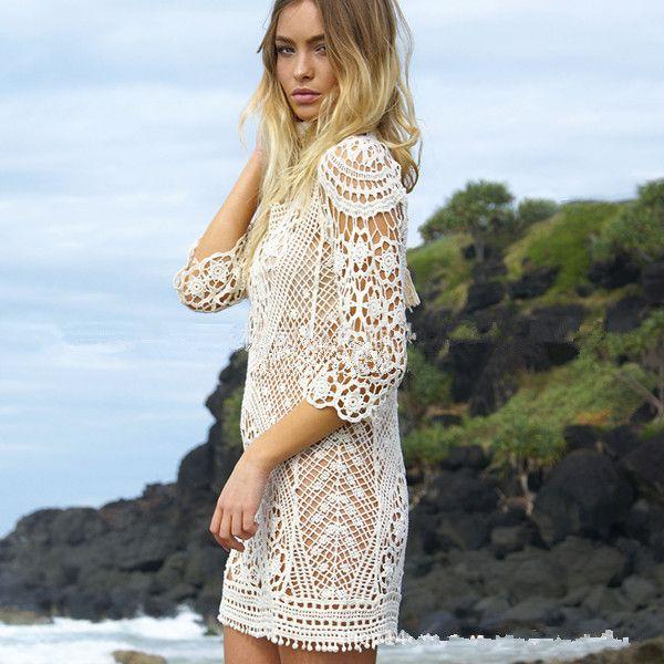 $24.2 - Cool Knit Backless Bikini Cover Ups Beachwear - Buy it Now!