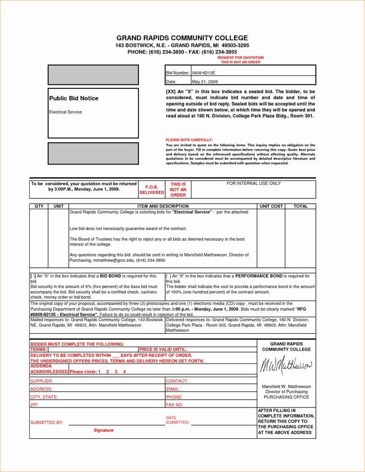 Bid Template for Contractors Lovely Bid Proposal Sample