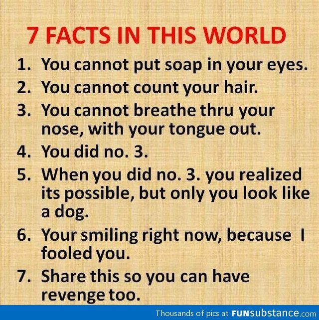 7 fact about hte world....