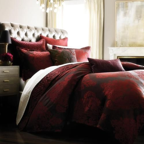 BLOOMINGDALE-039-S-1872-Hawthorn-NEW-Red-QUEEN-DUVET-COVER-Retail-495-tax-Bedding