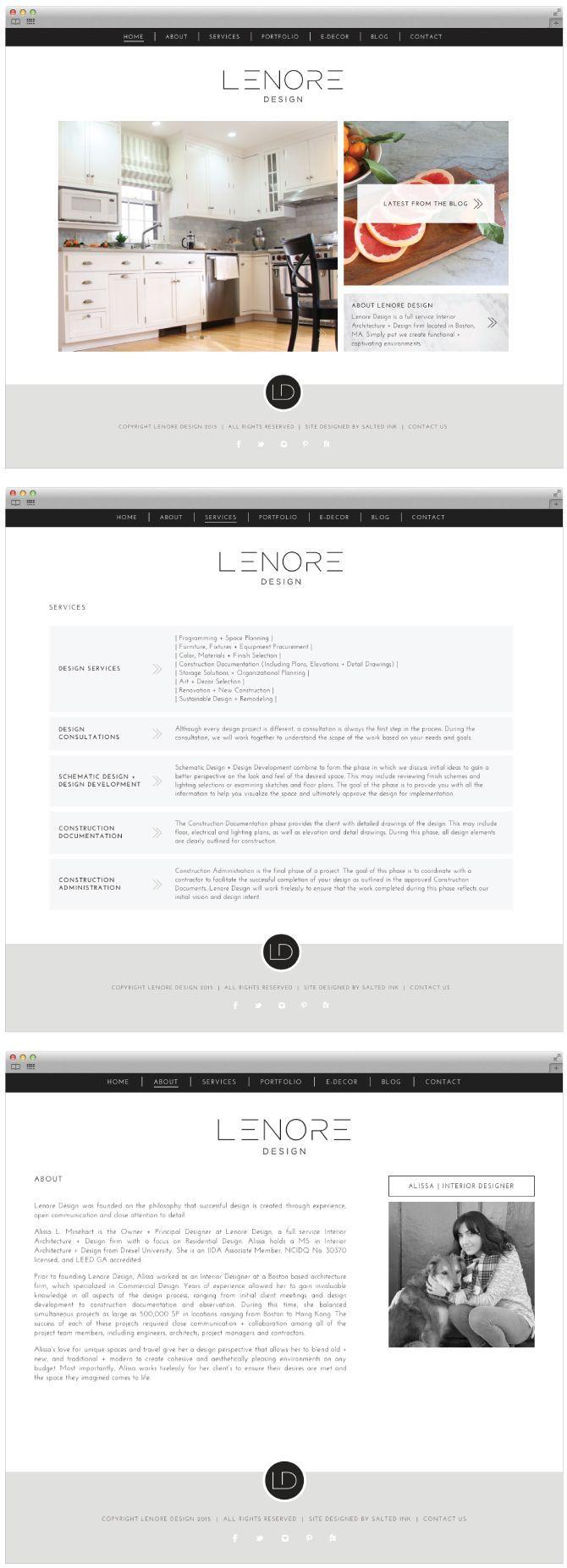 Brand Launch: Lenore Interior Design - Salted Ink Design Co.   CUSTOM WORDPRESS WEBSITE DESIGN   wordpress, website, design, branding, custom   www.saltedink.com