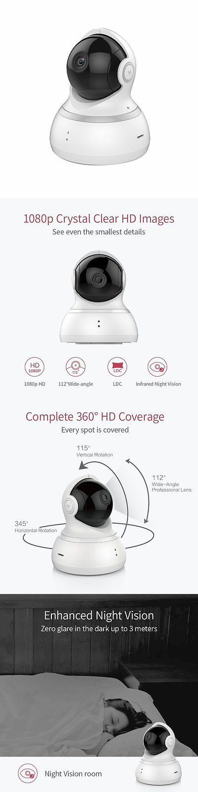 Security Cameras: Yi Dome Camera 1080P Hd Pan Tilt Zoom Wireless Ip Security Surveillance System -> BUY IT NOW ONLY: $70.85 on eBay!