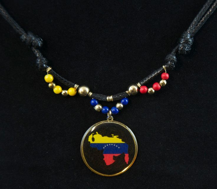 Venezuela Map double-faced medal. Padre Nuestro prayer. Handmade necklace. Adjustable length. Colored beads. Golden plated Medallion. by SaraBarbadillo on Etsy