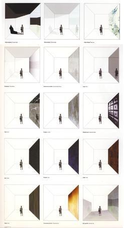 studio dei materiali e dell'uso del bianco = stanze lunghe e strette