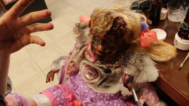 """Getting ready to shoot our horror  movie """"Playground"""". Make up artist George Keramidas is making sure of it."""