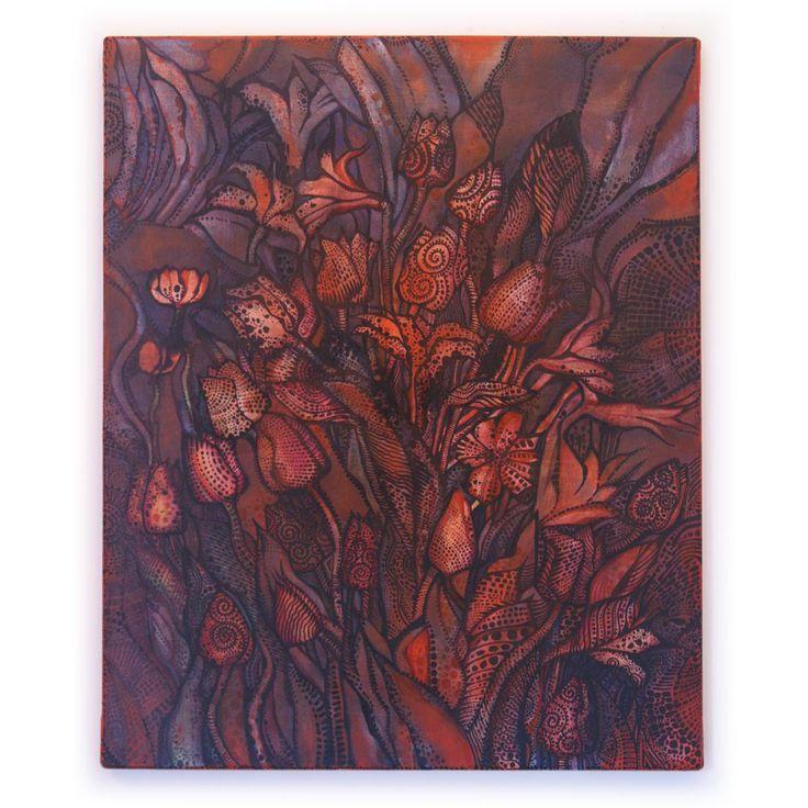 Tulipany w tatuażach czasu | Akryl na płótnie | 60 x 50 x 2 cm