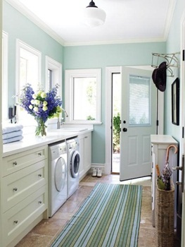 Beautiful laundry room. My new laundry room isn't as big but is almost as pretty. Lovely door to the garden, just like this one.