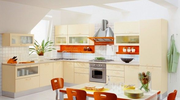 The title of this image is L Shaped Italian Kitchen With Beige Cabinets. It's just one of the wonderful photo examples in the post titled Italian Country Kitchen Furniture.