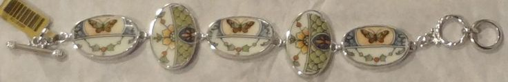 Butterflies Silver Plate and China Bracelet