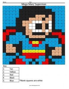 mega man superman subtraction coloring page - Mega Man Printable Coloring Pages