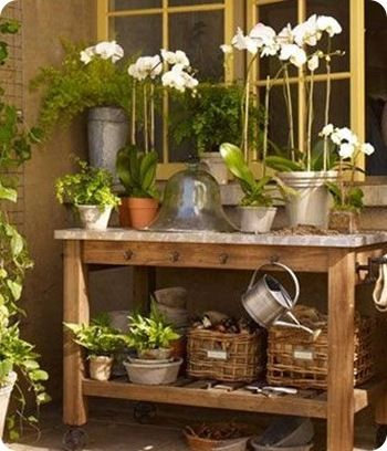 ...: Gardens Ideas, Work Benches, Pots Tables, Plants, Flowers, Outdoor Spaces, Gardens Tables, Pots Benches, Gardens Benches