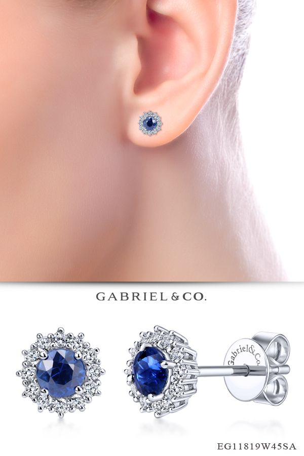 468096afb ... round cut sapphires are surrounded and enhanced by .24ct diamond  crowns. Take her breath away with these regal 14k white gold post back sapphire  stud ...