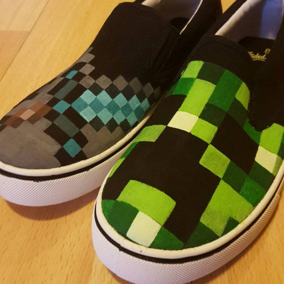 Custom painted Minecraft shoes Children by TsCreativeCustoms
