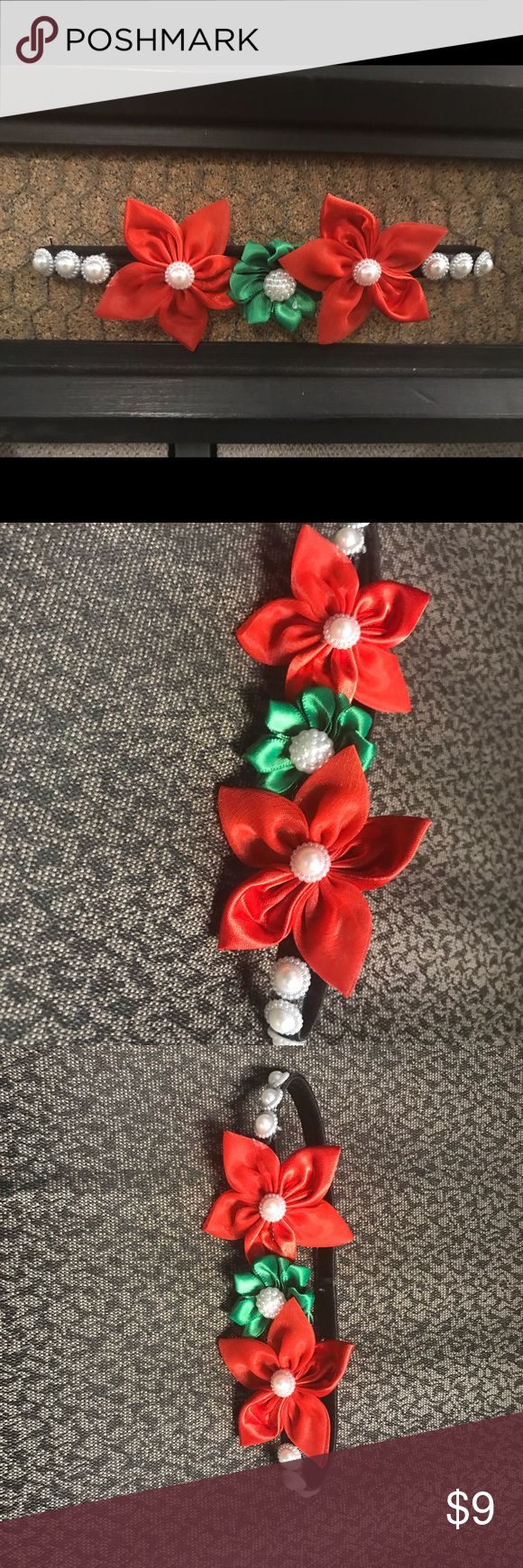Christmas flower headband One of a kind, handmade by myself. Adolescent to adult Christmas headband. Red and green with pearls. Accessories Hair Accessories