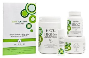 Body Tune Up Kit        H-TRIO's 30-Day Body Tune Up™ is formulated to help your body restore balance and increase vitality by gently releasing toxins, improving digestion, and supporting the absorption of nutrients.  www.htrio.com/donnareid