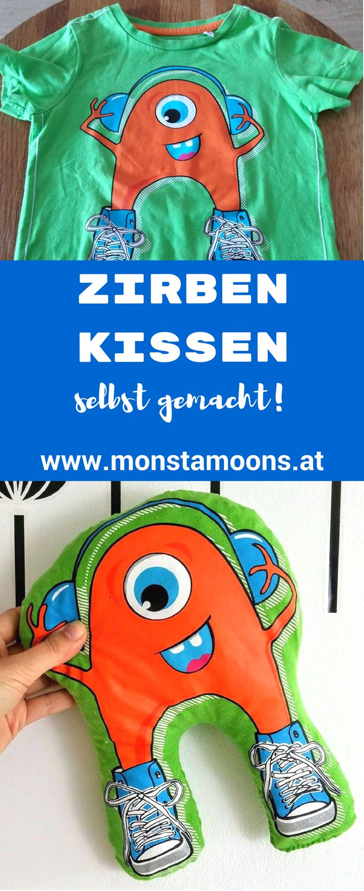 Zirbenkissen nähen, Kissen für Kids, T-Shirts upcyclen, shirt upcycling, Zirbenholz DIY
