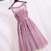 Venda quente Da Colher vestido de Baile Lace Applique Frisado Tule Rosa Curto Vestidos de Noite 2016 Robe De Soirée Courte Zipper-Up