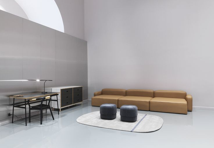Journal desk, Knot chair, Rope sofa, Circus pouf and Kabino sideboard by Normann Copenhagen