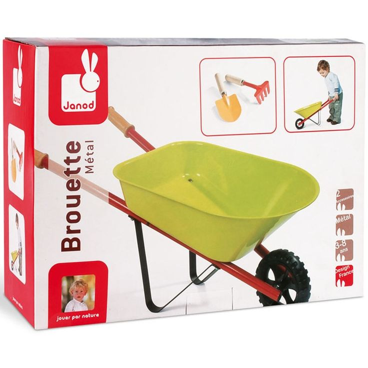 Janod's kids' dream garden set includes a perfectly sized bright green garden wheelbarrow and kids handheld rake and shovel. Manufactured by Janod.
