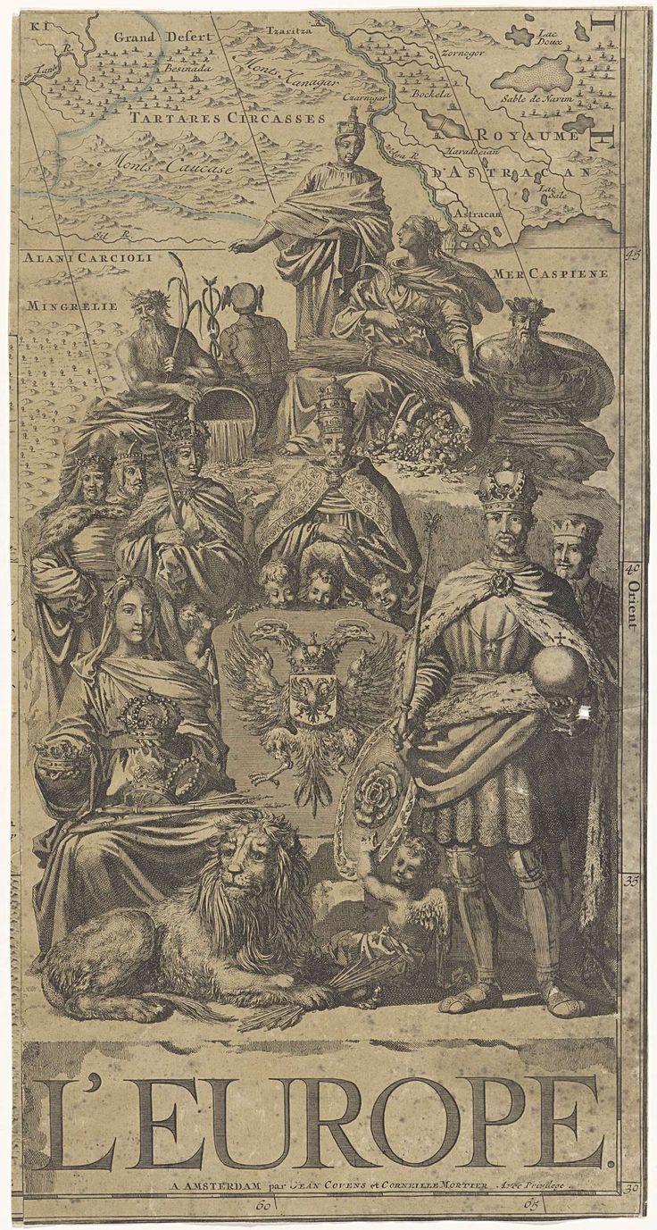 Vignet voor een kaart van Europa met machthebbers en personificaties, Jan Luyken, 1720 - 1772