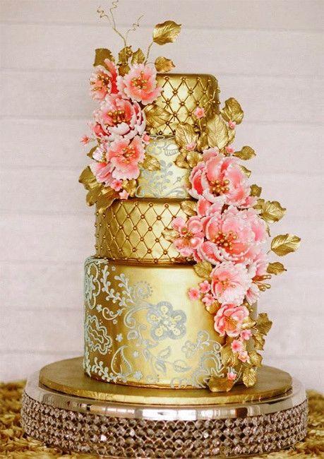 Золотой свадебный торт фото