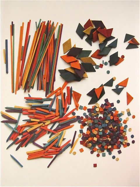 """""""Ninth Gift by Friedrich Fröbel:  Coloured Rods and Large Tesserae""""  19th century  This is my kinda toy."""