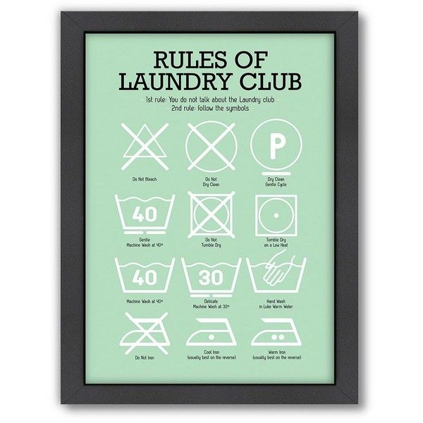 Americanflat Patricia Pino ''Rules of Laundry Club'' Framed Wall Art featuring polyvore home home decor wall art light blue vertical wall art framed wall art