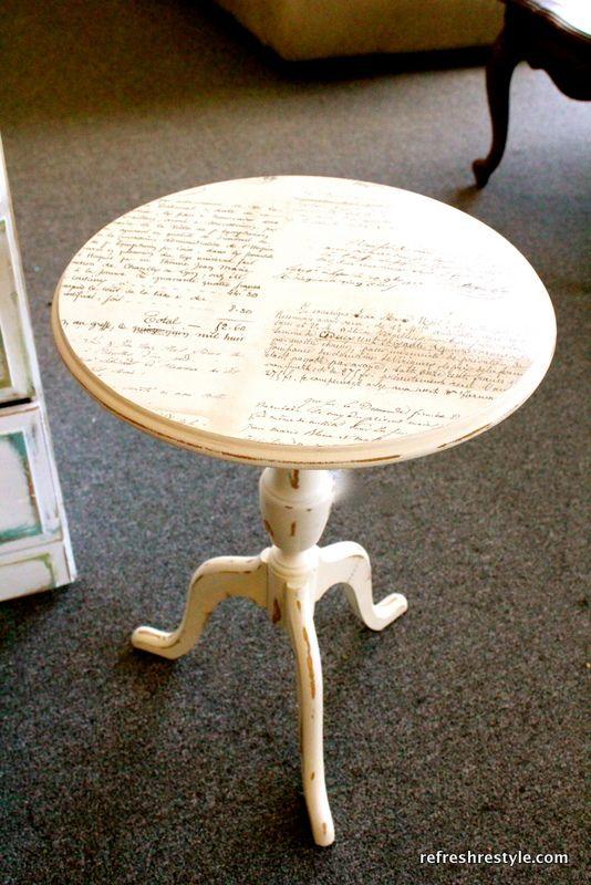 Mod Podge script table top! Gorgeous! via Refresh Restyle