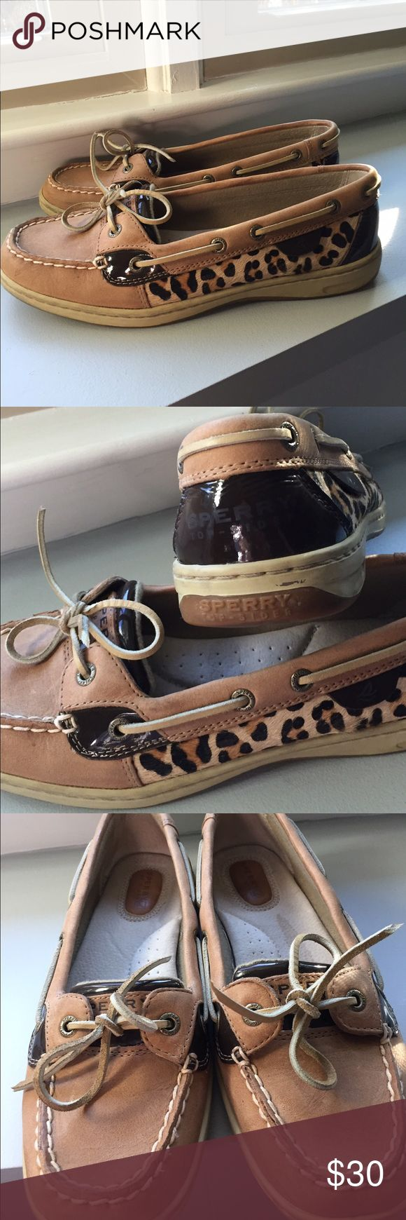 Sperry Leopard Top-siders Leopard and brown patent leather Sperry topsiders.. I am reposhing these.. Very nice but these are size 8.5 but fit more like a Nine.. Good condition.. As you can see in pic. There is a water mark in left shoe... There when I bought them.. Asking less then I paid originally. Sperry Top-Sider Shoes Moccasins