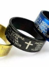 Cross Bible Band - Featuring the Lord's Prayer in Spanish - Titanium Stainless Steel
