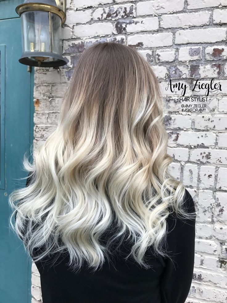 Platinum Blonde Balayage Ombre With Natural Root By