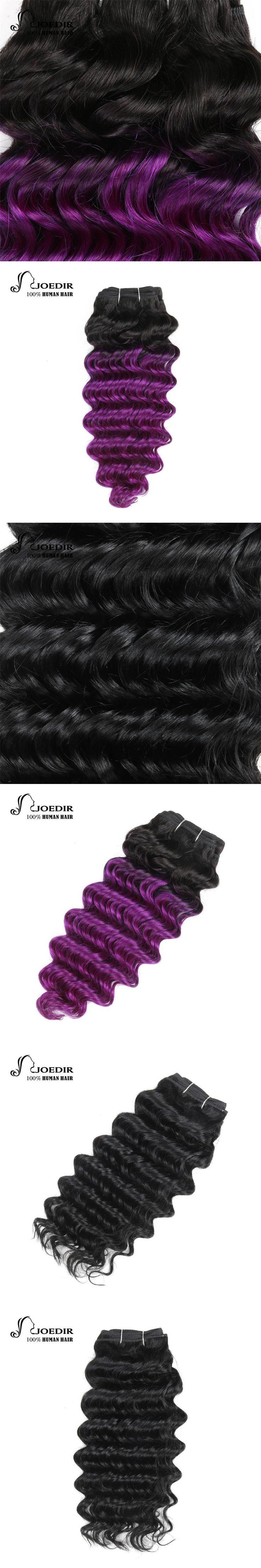 Joedir Hair Pre-Colored Brazilian Remy Human Hair Weave Nature Deep Wave #1 Jet Black Color #T1B-Purple Color Free Shipping