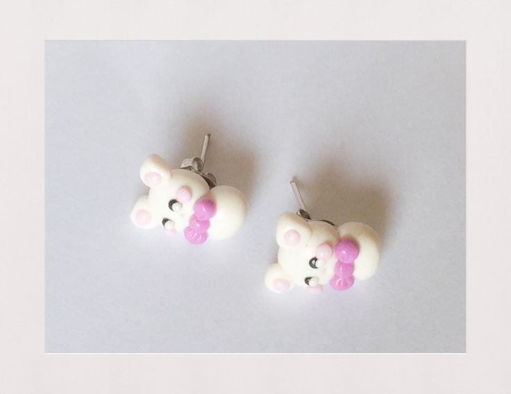 Orecchini da lobo orsetto bianco Kawai ha handmade di OkkinoShop su DaWanda.com