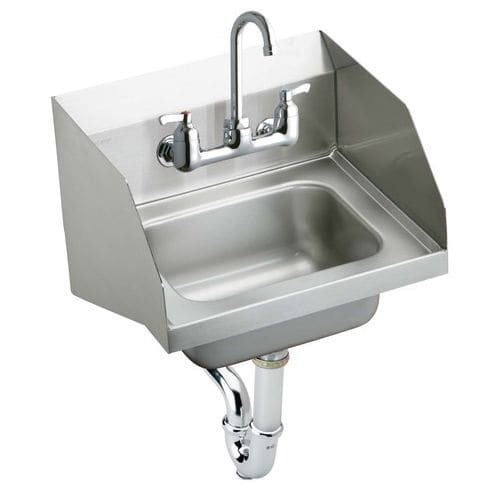 Elkay CHS1716LRSC Wall Mount 18 Gauge Stainless Steel (Silver) Handwash Sink with Commercial Faucet and Drain Fittings