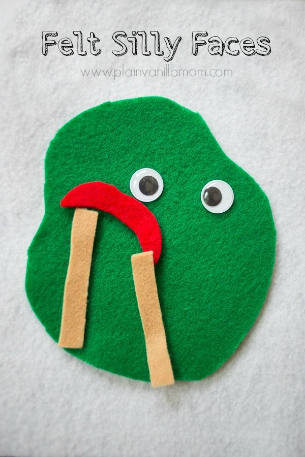 Felt Silly Faces Busy Bag via Plain Vanilla Mom. Is he happy? Does she look sad? Great for discussing emotions! #preschool #efl #education (repinned by Super Simple Songs)