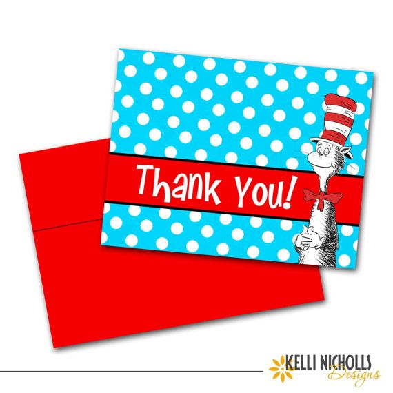 Cat In The Hat Birthday Party Thank You Notes, Thank You Cards