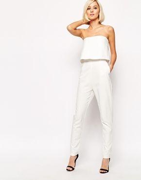 Lavish Alice Bandeau Split Back Cropped Jumpsuit
