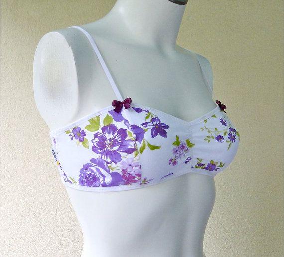 SAMPLE SALE  Floral cotton bralette    vintage style by econica, $18.00