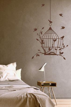 #Wandtattoo #Vogelkäfig mit #Vögeln