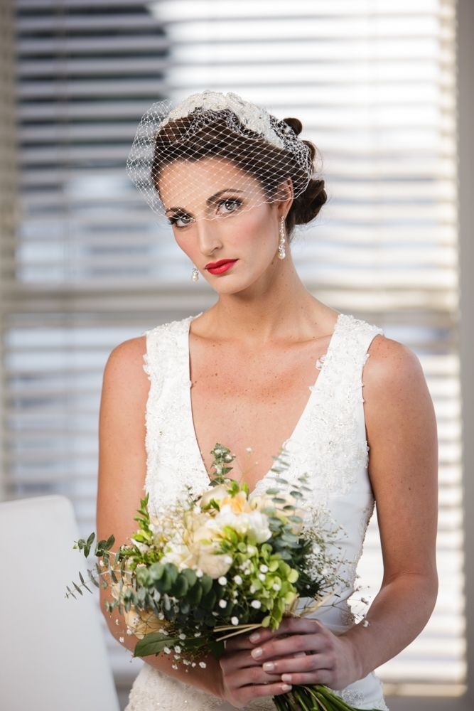 Very easy to wear birdcage veil set on a headband with pearled applique. Margot Ardern Designs www.ardernfarm.com Photos by Quinn & Katie Photography www.qophotography.co.nz Makeup by www.abeautifuleducation.co.nz