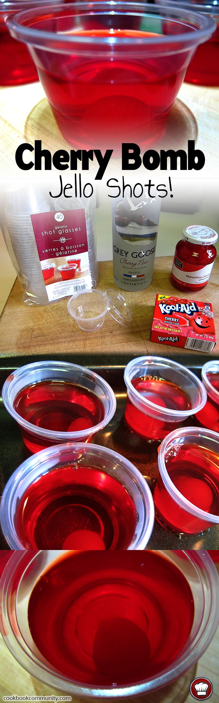 CHERRY BOMB JELLO SHOTS - Jello, Cherries, and Vodka.. WHAT'S NOT TO LOVE ABOUT THIS! EASY TO MAKE!
