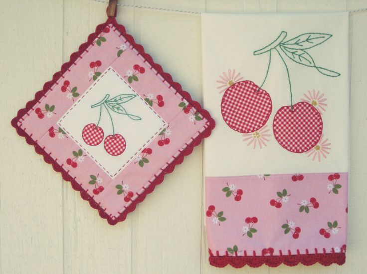 sweet cherries tea towel and pot holder set::made to order · vintage grey