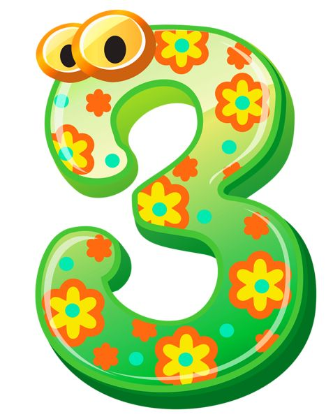 Cute Number Three PNG Clipart Image