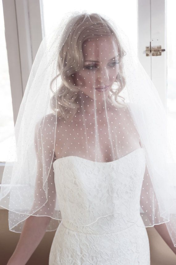 Polka Dot Illusion Tulle Wedding Veil with Pencil by veiledbeauty
