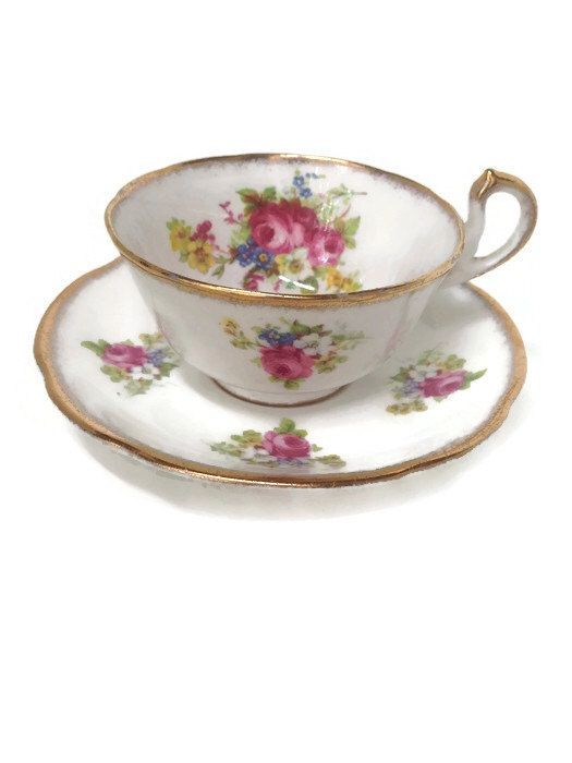 Antique Vintage Tea Cups and Saucer, White Floral Tea Cups, Victorian Shabby Chic